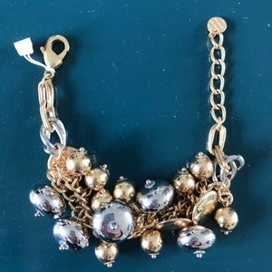 New Talbots faux gold and silver bead bracelet